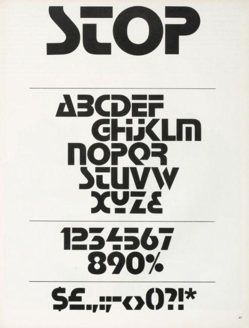 "Aldo Novarese : typeface ""Stop"" (1971) Italy"