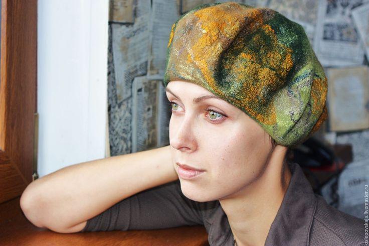 Купить валяный берет Солнце октября - абстрактный, зеленый, бежевый, коричневый, беретка, шапка