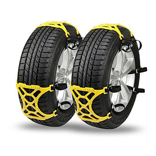 Universal Tire Chains for Snow, CARSUN Emergency Thickening Car Tire Snow Chains Adjustable Anti-Skid Chains - 6 Pack Light Yellow Snow Chains and 1 Pair Black Glove. For product info go to:  https://www.caraccessoriesonlinemarket.com/universal-tire-chains-for-snow-carsun-emergency-thickening-car-tire-snow-chains-adjustable-anti-skid-chains-6-pack-light-yellow-snow-chains-and-1-pair-black-glove/