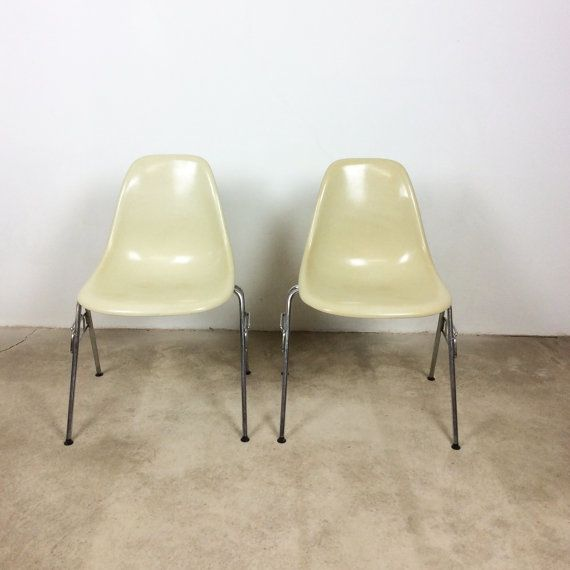 1 of 2 eames chairs shell parchment Herman Miller VITRA | Fiberglas Chairs w/ stacking base| midcentury modern