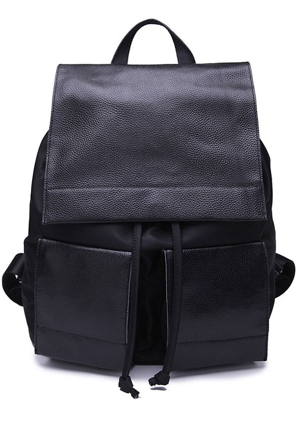 String Black PU Leather Satchel