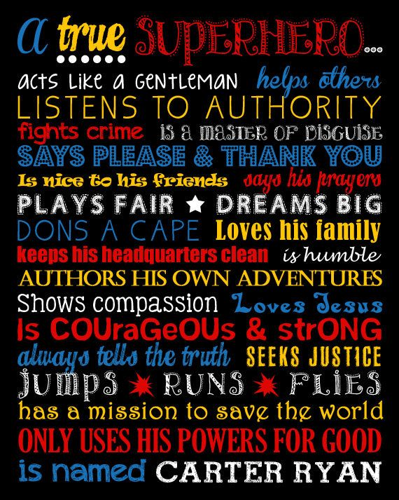 A True Superhero. Superhero Rules. Superhero by LittleLifeDesigns