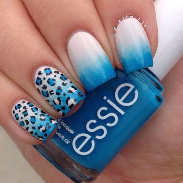 blue to white ombre with leopard accent nails | nailart @Melissa Risi (here's the matte version: https://www.instagram.com/p/qxHTnTRo3K/ )