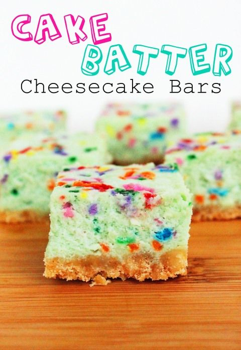 Cake Batter Cheesecake Bars.....good hell
