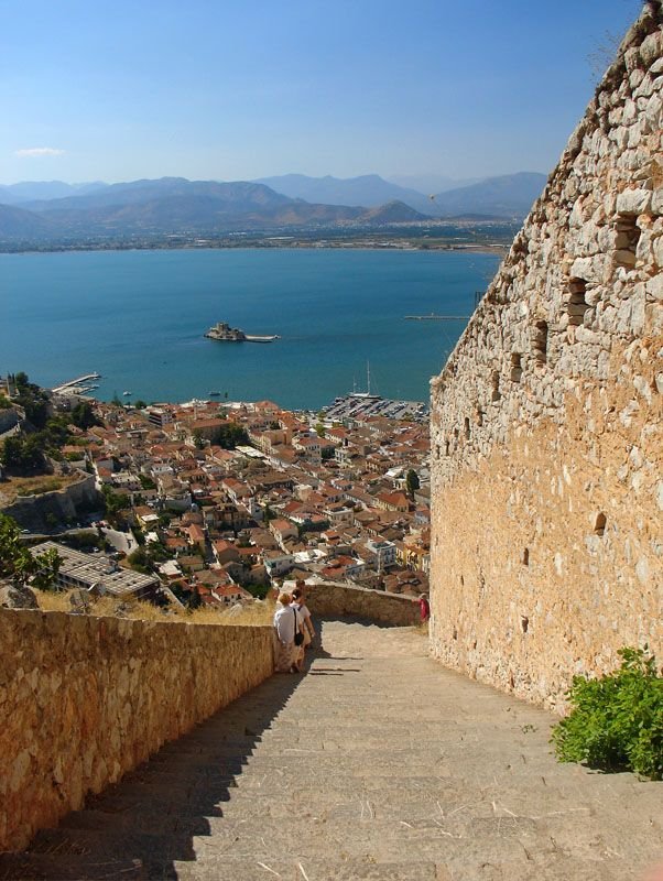 Nafplion fortress stairs from the bottom to the top. I forget how many stairs there are, but an awful lot...
