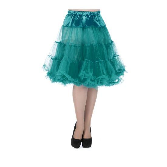 """Lady V London Spodnička Teal 23"""" Spodnička ve stylu 50. let. Krásná tylová spodnička k šatům s kolovou sukní, dokonale pozvedne výraz šatů, bohatý objem, 2 bohaté vrstvy, 100% polyester, nádherná tyrkysová barva, délka cca 58 cm. Vhodná pro kratší typy šatů."""