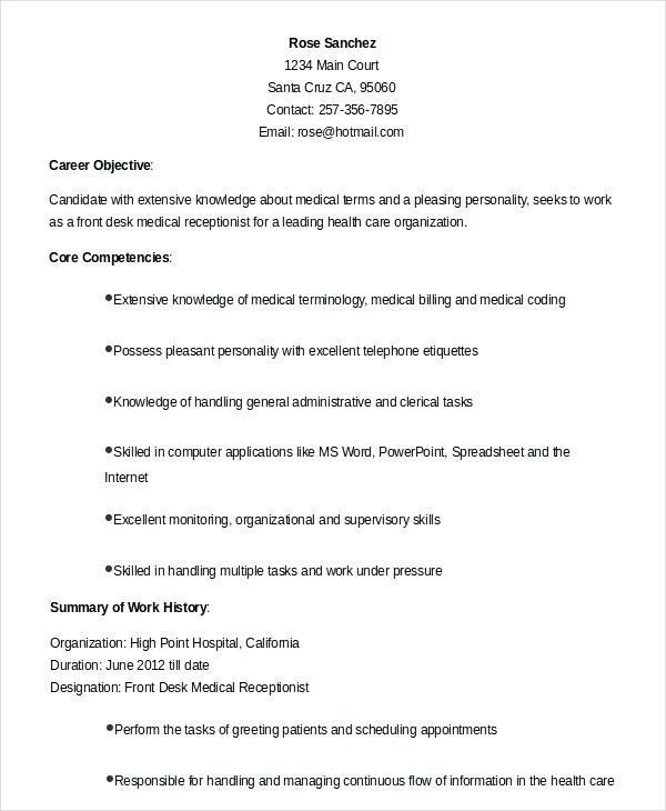 31 Medical Office Receptionist Resume