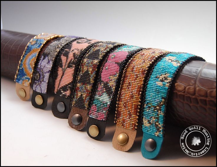 All seven bracelets were woven on a Mirrix Loom by Good Quill Hunting. Each is finished in leather with snap closures.