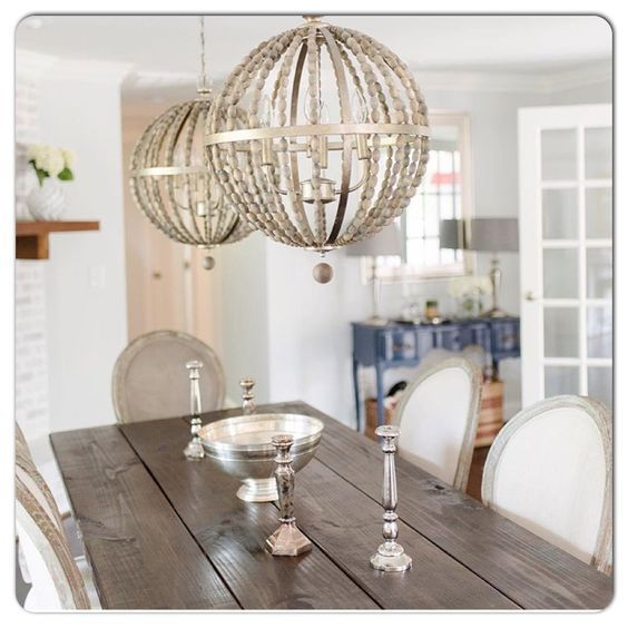 French MODERN FARMHOUSE Wood Bead CHANDELIER Globe Orb PENDANT TUSCAN New Dining Room