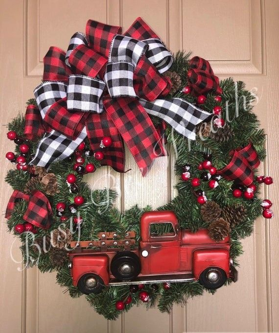 Gorgeous Red Truck Wreath! Buffalo Plaid Ribbon And