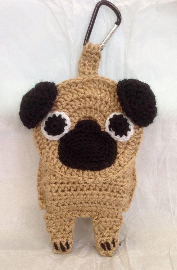 Pug Poop Bag Holder by CraftyHongSisters on Etsy, $15.00
