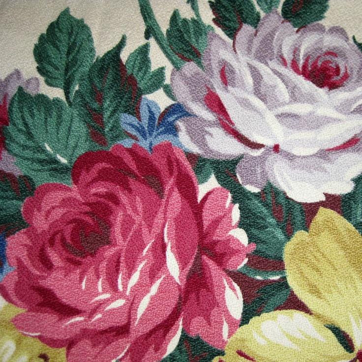 Vintage Floral Barkcloth Fabric Vintage Floral Fabrics
