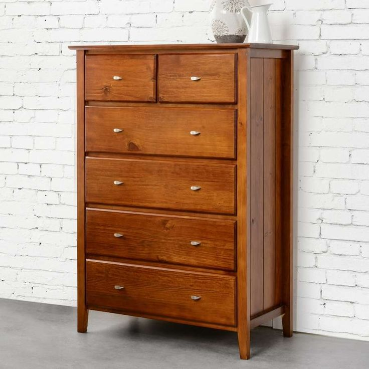 TINA  6 Drawer Tallboy Chest   - Solid Pine Timber Construction - Walnut