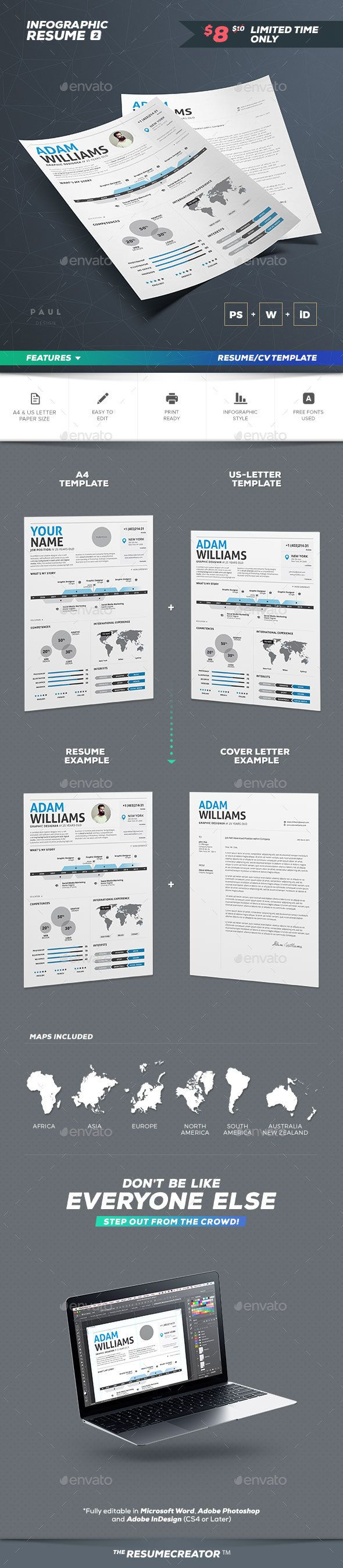 Infographic Resume Vol. 2 by paolo6180 Professionally designed, easy-to-edit template package for the job seeker who wants to leave an unforgettable impression. Fast tr