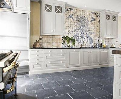 Gray slate tiles - kitchen floor