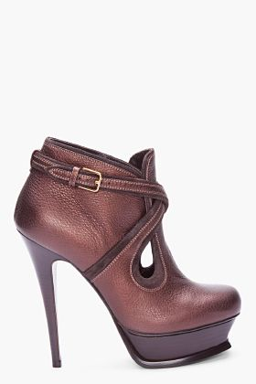 YVES SAINT LAURENT Espresso Tribute Ankle Boots #shoes #boots #booties #heels #ysl