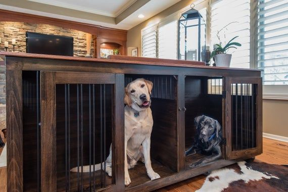 Custom Hardwood Double Dog Kennel Furniture Dog Crate Furniture