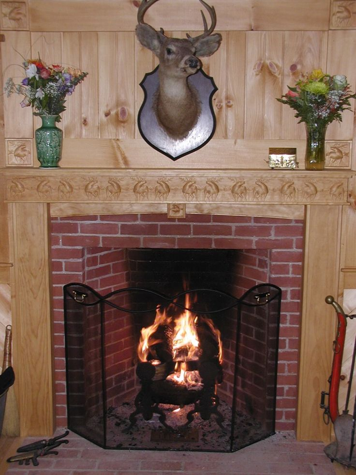 Captivating Fireplace Mantel Kits Decoration Ideas For Beautiful Interior: Cool Fireplace  Mantel Kits Deer Picture ~