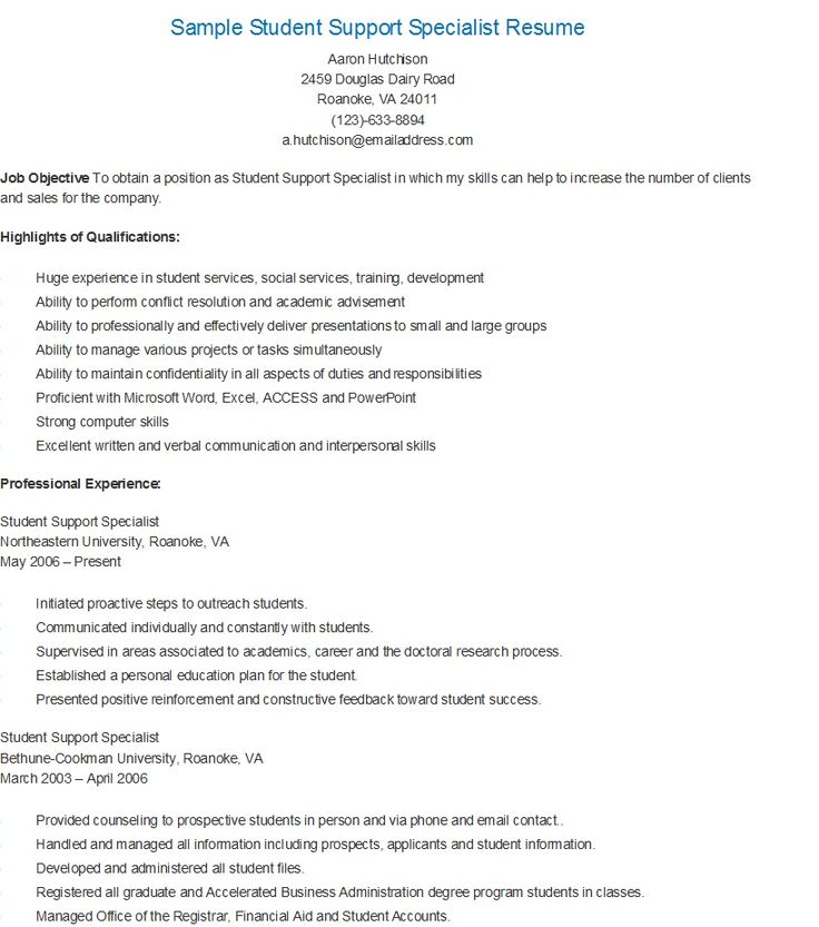sample student support specialist resume