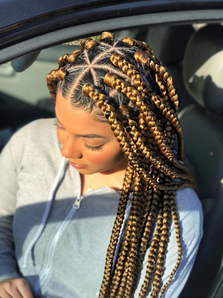 Jumbo sized Box Braids – Blonde Box Braids – Protective Style #braidshairstyles …
