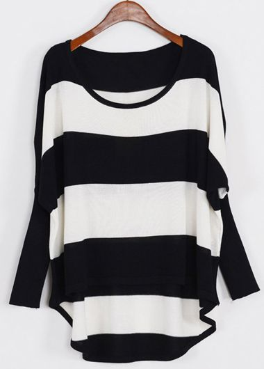 Batwing Sleeve Round Neck Striped Sweater | Rosewe.com