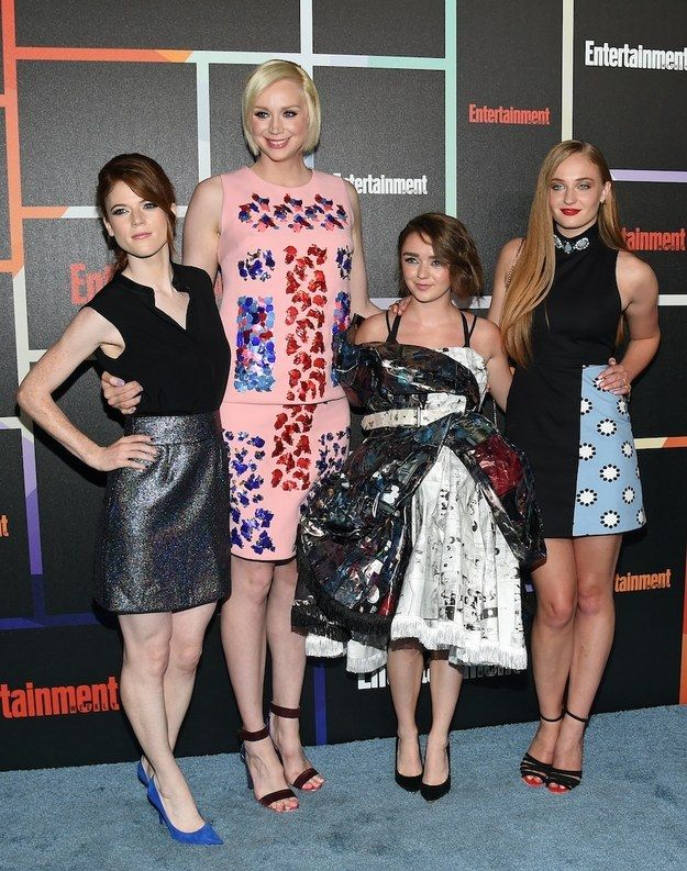 """Ygritte, Brienne of Tarth, and the Stark girls all glammed up on a girls' night.   All The Times """"Game Of Thrones"""" Stars Did Normal Stuff In 2014"""