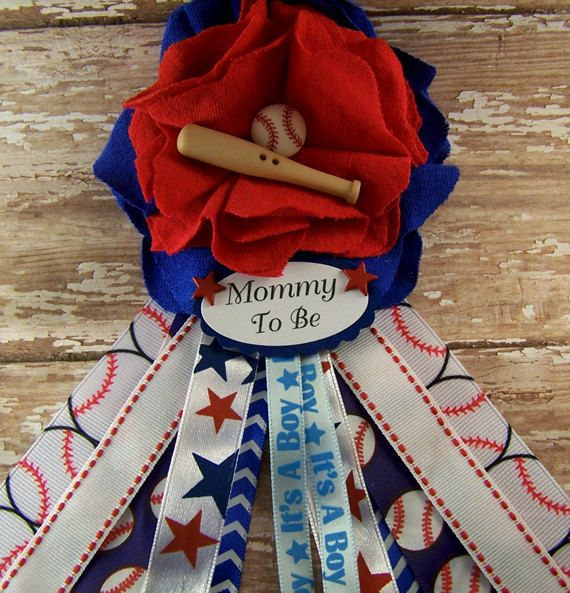 Baseball Corsage Baby Shower Corsage Mommy to be Corsage Measures: 3 1/2 x 7 Made from Washed Recycled T-Shirts and Ribbon and Embellishments