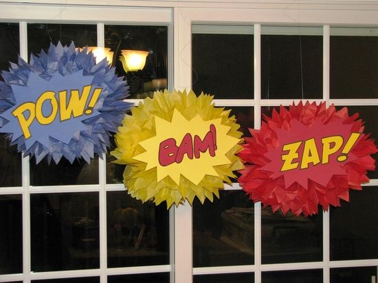 superhero classroom bulletin board ideas | superhero tissue paper pompom to decorate class superhero tissue paper ...