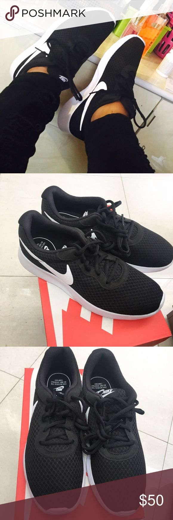 FIRM PRICE Nike Tanjun 🙅NO LOWEST🙅NO TRADES.  DISCLAIMER: SIZE IS A MENS 8.5 FITS WOMEN 10 (SOLD SEVERAL), as they run a half size small.  TRIED TESTED & TRUE.  Sporty kicks, summer time cute & comfortable, would look great with light blue or blacks jeans. Questions welcomed. Nike Shoes Sneakers