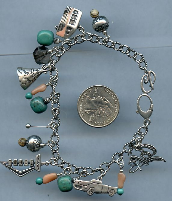 Vintage Sterling Silver Charm Bracelet Turquoise Pink Car Motel Teepee B64 a4d6de6e01e41