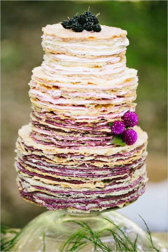 ombre color wedding cake; via weddingchicks | purple wedding cake | amethyst wedding | rustic weddding cake | layered cake |