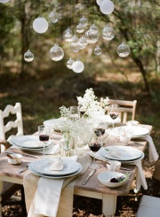 rustic tablescape with hanging glass globes