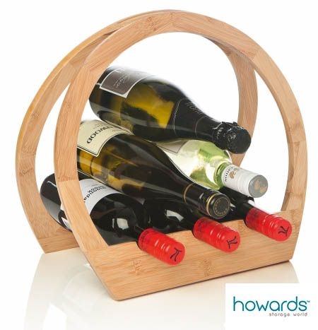 Barrel Wine Rack This stylish Barrel design wine rack is made from bamboo, a sustainable resource and will hold up to 12 bottles. Its compact design is perfect for a small space. Available from Howards Storage World.