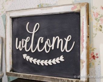 Welcome With Leaves Sign | UNFINISHED MDF Word Cutout | Typography sign |