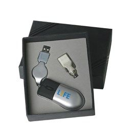 Optical mouse with retractable cord and extra connection to suit all computers. Boxed. http://bit.ly/1i5LbXo