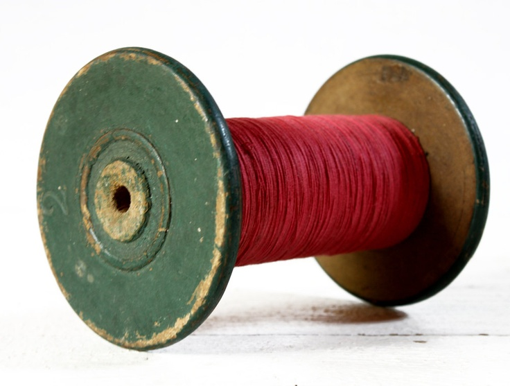 Large OLD FRENCH  wooden REEL of red thread.