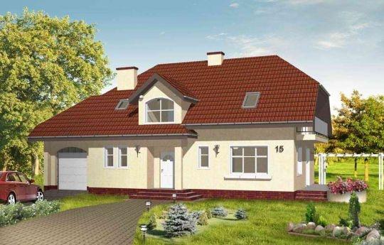 Projekt Pogodny 3 to reprezentacyjny dom z garażem, dla rodziny cztero-pięcioosobowej. Dom został rozplanowany w taki sposób aby pasował również na wąską działkę, z ogrodem z boku. Wnętrze parteru to: duża kuchnia z kącikiem jadalnym, obszerny salon z kominkiem w środkowej części domu, kształtny hol z wygodnymi schodami.