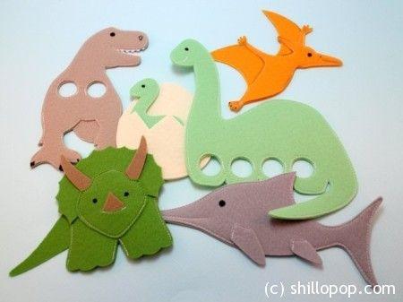 Dinosaurs Felt Finger Puppet Pattern 1