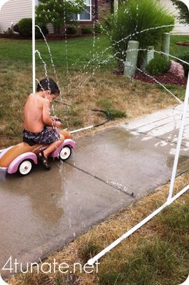 summer fun in the sprinkler:  http://www.4tunate.net/2011/07/how-to-make-a-homemade-sprinkler-with-pvc-pipe/#