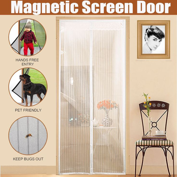 """Magnetic Screen Door with Heavy Duty Mesh & Full Frame Velcro ,Aopet Hands Free Mesh Curtain ,Magic Breeze Door Net, Keep Bugs Out Fly Screen 35""""-82"""" Max White -12 Month Warranty"""