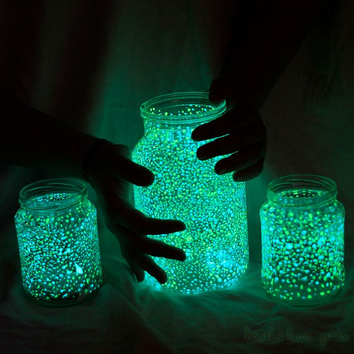 Need: Mason jars Glowing paint Paint brush & some water 1. Wash jars & mix paint with your brush to have the glowing particles evenly dissolved. 2. Make tiny dots in the inside of the jar. (the more dots you make, the prettier the jar will look). 3. Done! Charge it with a lamp or daylight. http://www.frompankawithlove.com/2012/01/glowing-jar-project-varazslat-lakasban.html