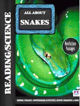 This all-inclusive, No-Prep Student Activity Set is great for teaching and reviewing facts about snakes!Your students will love the REAL PHOTOGRAPHS, original differentiated reading passages, comprehension questions, writing prompts, graphic organizers and more!Contents of the Package Include:Page 1: Cover Page Page 2: All About Snakes Reading Passage Page 3: All About Snakes Comprehension Questions and Writing PromptPage 4: All About Snakes Graphic OrganizerPage 5: Interesting Facts About…
