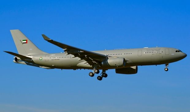 """Airbus Military delivered 3rd & final A330 MRTT multi-role tanker transport to United Arab Emirates(UAE).17th of its type to enter service.A330 MRTT team 4 clients:Australia,Saudi Arabia,UAE & UK.UAE version equipped with 2 underwing refueling pods,& tail boom,& universal aerial refueling boom """"Slipway"""" (UARRSI ),allowing it to fill in the direction of another refueling appliance.A330 MRTT UAE is powered by 2 Rolls-Royce Trent 700 engines 1 256 passenger seats in transport mode."""