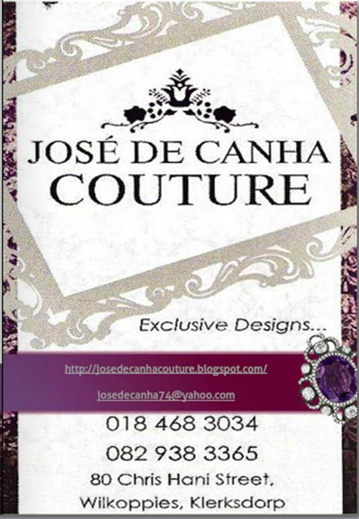 Jose de Canha Couture - designer of choice  for Miss Klerkdsorp, Mrs South Africa and Miss Mamelodi Sundowns