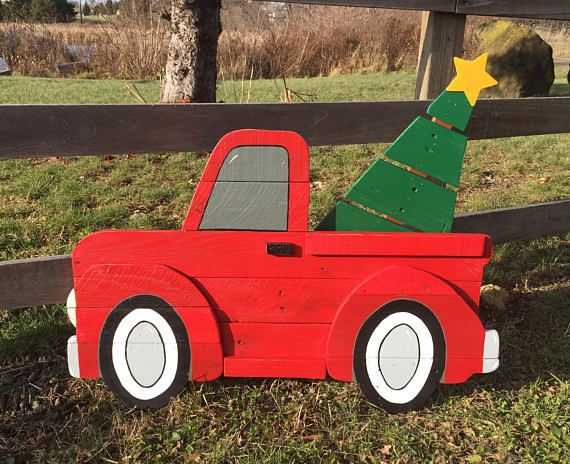 This Vintage Red Christmas Truck is bringing home the Christmas Tree. Perfect addition to your home for an old fashioned Christmas! Will look great sitting on the front porch, yard, by the Christmas Tree, fireplace or mantle. Would also make a excellent gift! Handmade from reclaimed