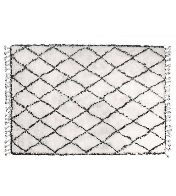 HK-living Vloerkleed berber met franjes wol zwart wit ruit patroon 180x280cm - wonenmetlef.nl