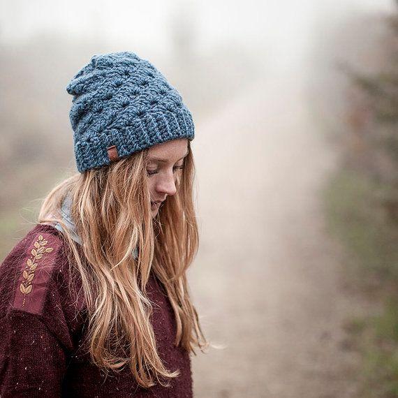 blue handmade crochet wool hat designer Beanie von beaniefabrik