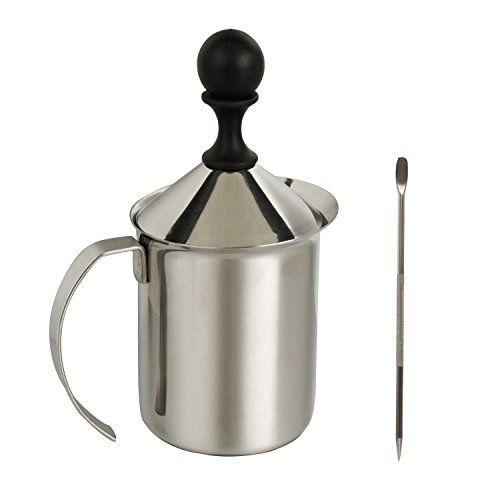 IMEEA� 300ml Schwere Typ 18/10 Edelstahl Milchaufsch�umer + Edelstahl-Kaffee Latte Art Pen Werkzeug verziert (600 ml Container Kapazit�t mit 300 ml Schaum ,empfehlen f�r 3 Personen benutzt bei jedesmal .und mit 5.3 inchEdelstahl Latte Kunst-Feder )