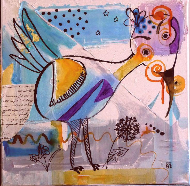 Tableau Peinture Contemporaine Acrylique déco enfant Cadeau Noël : Peintures par cyane