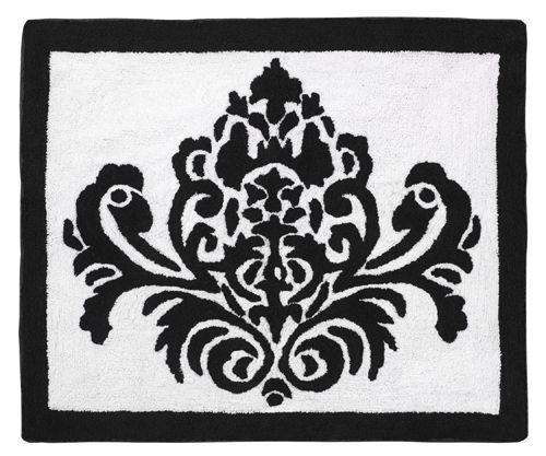 Isabella Black and White Damask Print Floor Rug | Jojo Designs Designer Bath Mats